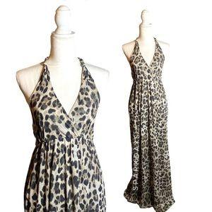 Sweet Pea Leopard V-Neck Long Maxi Halter Dress L